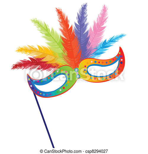 Colored mardi Grass mask with feathers - csp8294027