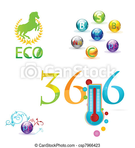 colored medic symbols and vitamins set - csp7966423