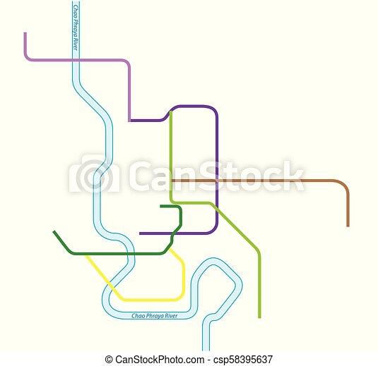 Colored metro vector map of bangkok, thailand.
