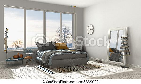 Colored modern white bedroom with big panoramic window, sunset, sunrise,  architecture minimalist interior design