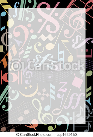 Colored Music Notes Background With Colored Music Signs On Black