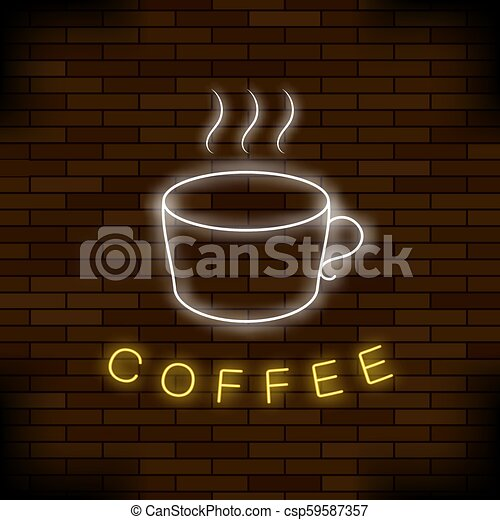 Colored Neon Coffee Cup. Night City Banner - csp59587357
