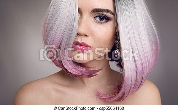 Colored Ombre Bob Hair Extensions Beauty Blonde Model Girl With