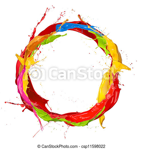 Colored paints splashes circle, isolated on white background - csp11598022