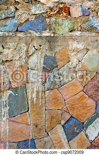 colored Pattern of old stone Wall Surfaced - csp9072009