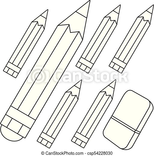 Colored Pencils And Eraser. Vector Black And White Coloring Page. CanStock