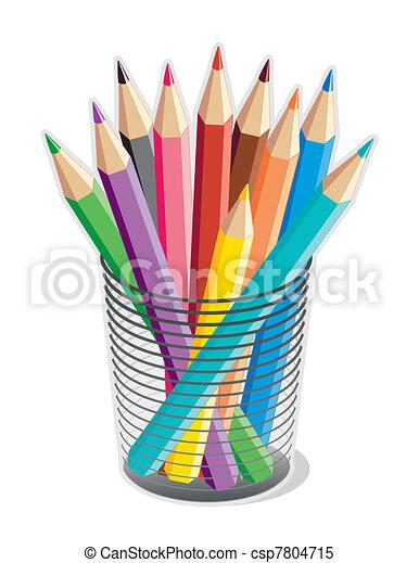colored pencils collection of 10 multicolored pencils in a desk rh canstockphoto com clipart pencil case clipart pencil black and white