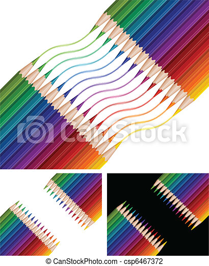 Colored Pencils Drawing Rainbow On White Background Vector Illustration Canstock