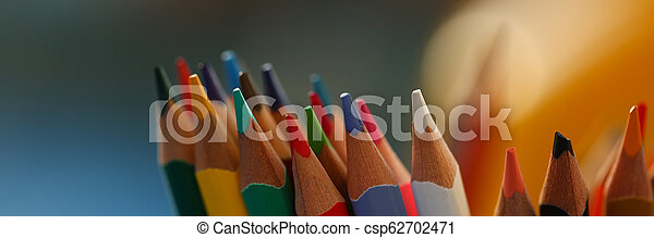 colored pencils many different opinions educational concept - csp62702471