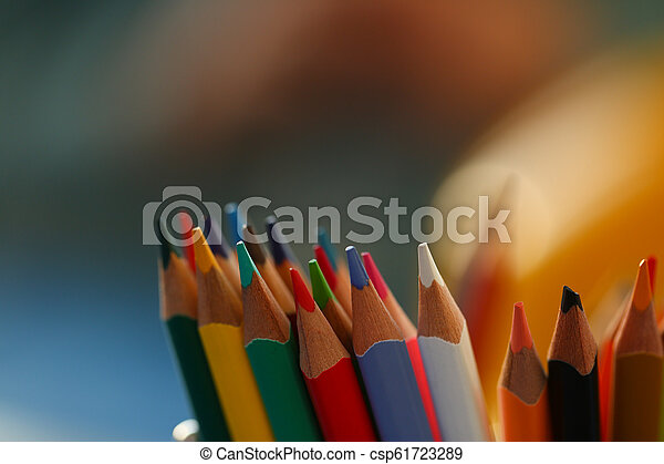 colored pencils many different opinions educational concept - csp61723289