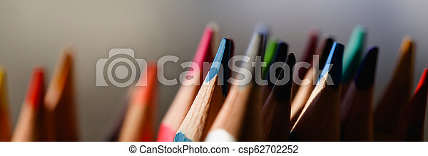 colored pencils many different opinions educational concept - csp62702252
