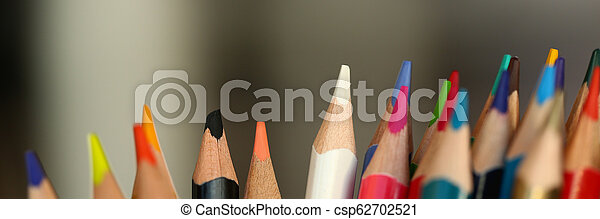 colored pencils many different opinions educational concept - csp62702521