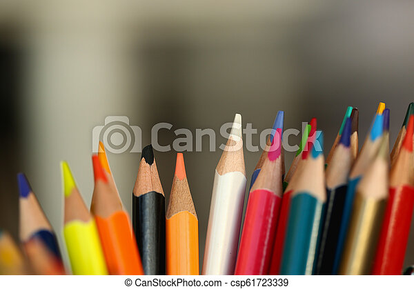 colored pencils many different opinions educational concept - csp61723339