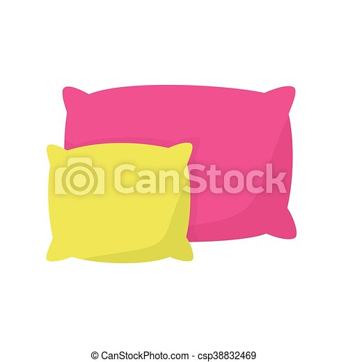 Colored pillow, cushion vector illustration on a white ...