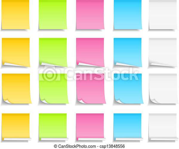 Colored Post-It Notes - csp13848556