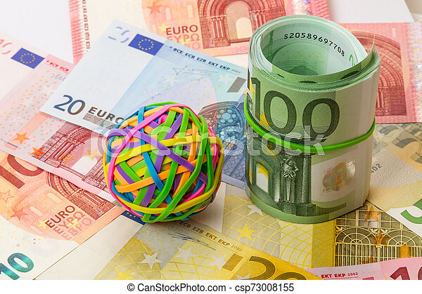 Colored rubber bands for money and euro - csp73008155