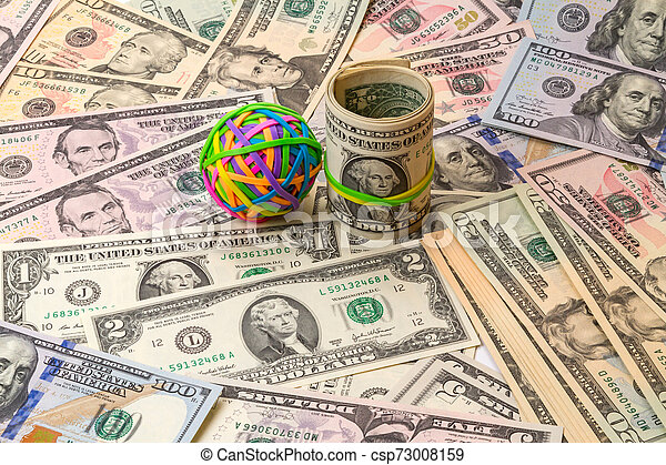 Colored rubber bands for money and dollars - csp73008159