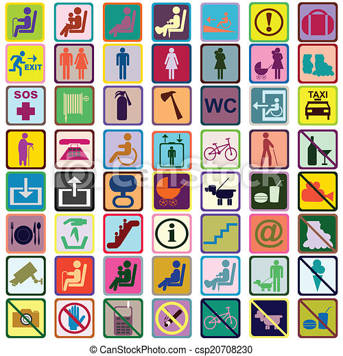 Colored signs icons used in transportation means - csp20708230