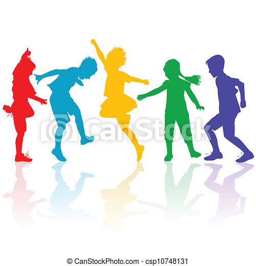 Colored silhouettes of happy children playing - csp10748131