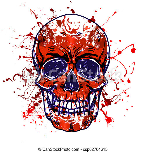 Colored skull isolated on white background - csp62784615
