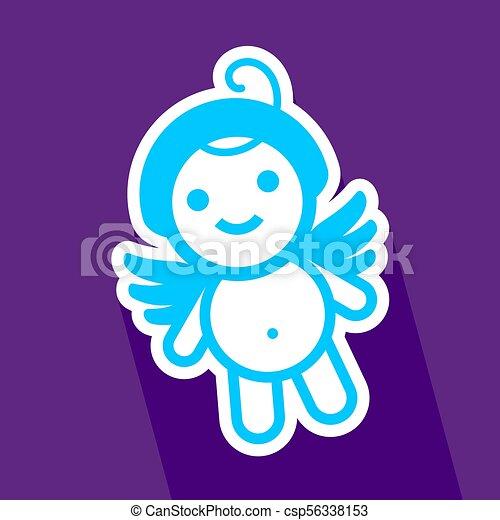 Colored sticker angel - csp56338153