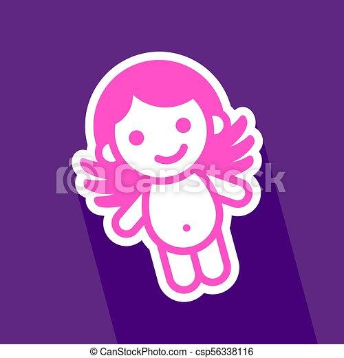 Colored sticker angel - csp56338116
