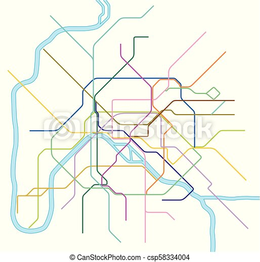 Colored subway vector map of paris. Colored metro vector map of ...