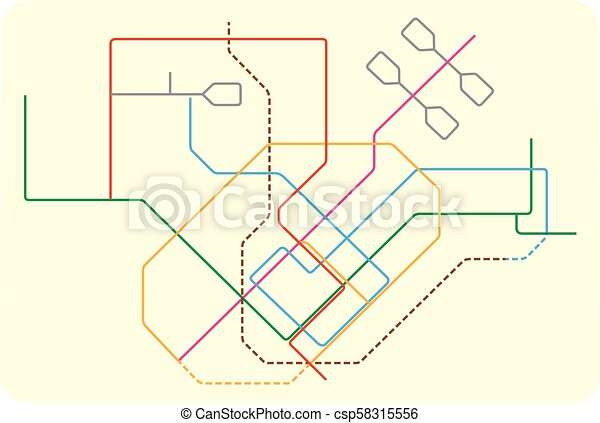 Colored subway vector map of singapore, asia.
