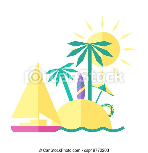 Colored summer illustration of an Island - csp49770203
