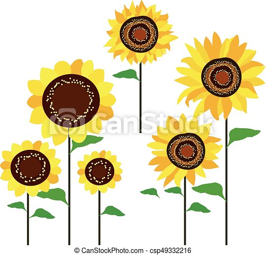 colored sunflowers vector - csp49332216