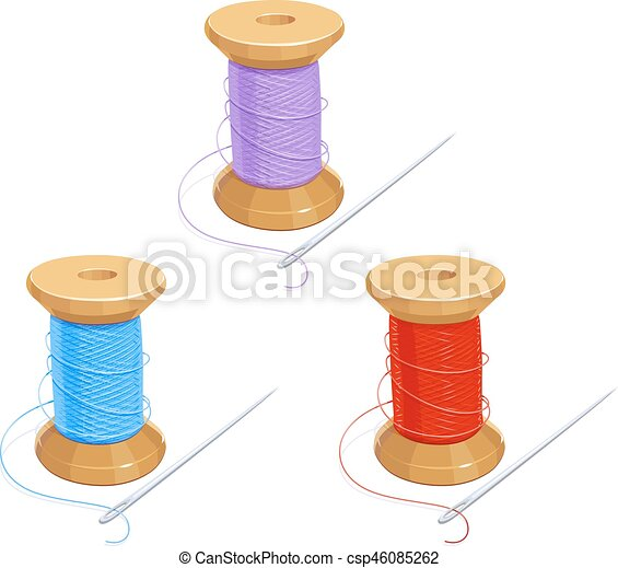 Colored thread reel with needle. cotton for needlework. sewing tools ...