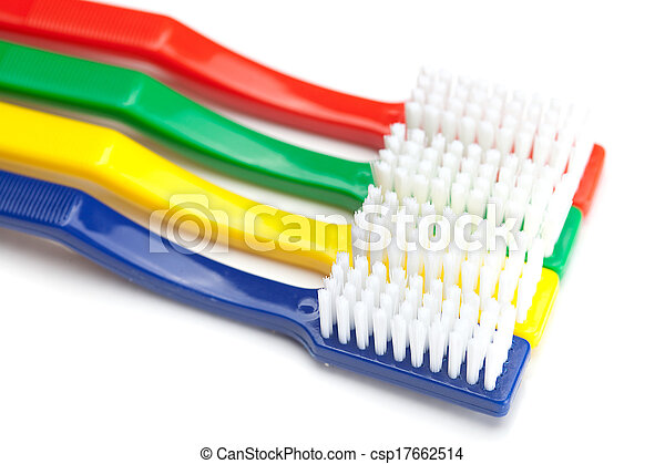 colored toothbrush isolated on white - csp17662514