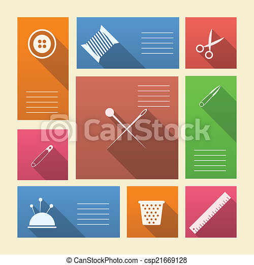 Colored vector icons for sewing supplies with place for text - csp21669128