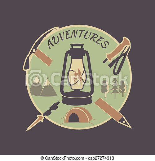 Colored vintage adventure label - csp27274313