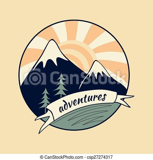 Colored vintage adventure label - csp27274317