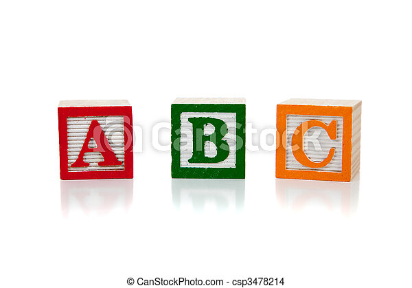 Colored wooden letter blocks on a white background - csp3478214