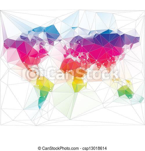 colored world map triangle design - csp13018614