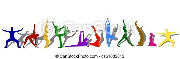 colored yoga silhouettes  - csp1883813