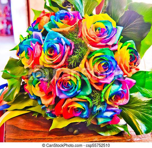 Colores Del Arco Iris Coloreado Rosas Arco Irirs Todos Ramo