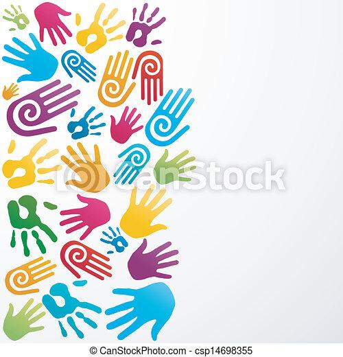 La diversidad colorea la mano humana - csp14698355