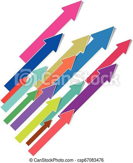 Colorful 3D arrows isolated on white background - csp67083476