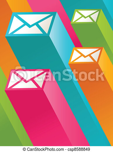 Colorful 3D Mail Icons - csp8588849
