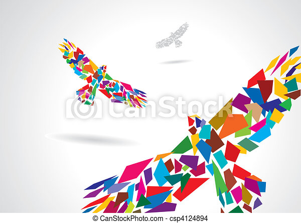 Colorful abstract bird flying - csp4124894