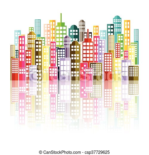 Colorful Abstract City Skyline. - csp37729625
