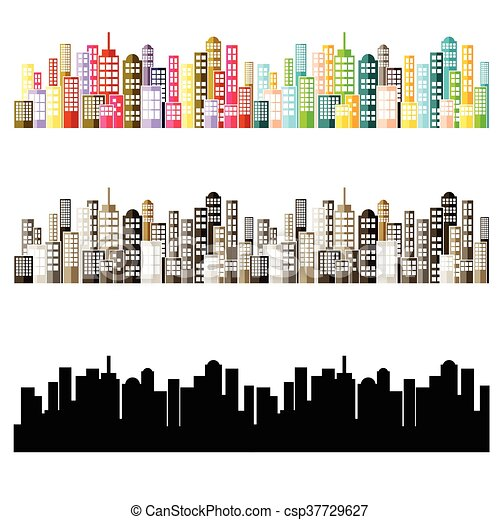Colorful Abstract City Skyline. - csp37729627