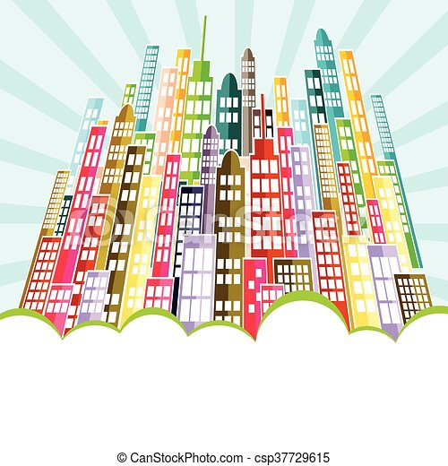 Colorful Abstract City Skyline. - csp37729615