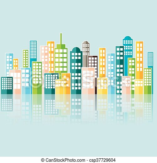 Colorful Abstract City Skyline. - csp37729604