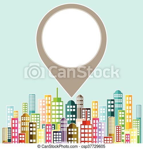 Colorful Abstract City Skyline. - csp37729605