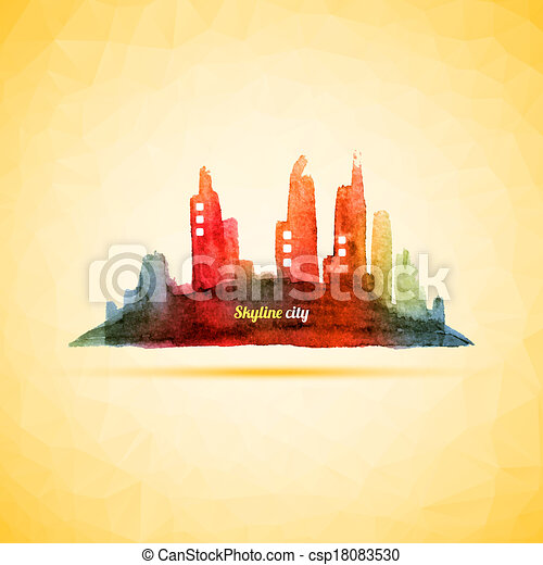 Colorful Abstract City Skyline Vector - csp18083530