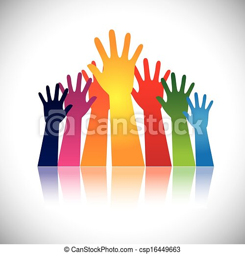 Colorful abstract hand vectors raised together showing unity - csp16449663